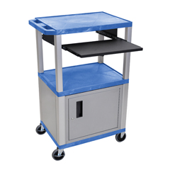 LUXWTPS42BUC4E-N - LuxorPresentation Cart with Cabinet & Pull Out Tray