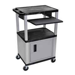 LUXWTPS42C4E-N - LuxorPresentation Cart with Cabinet & Pull Out Tray
