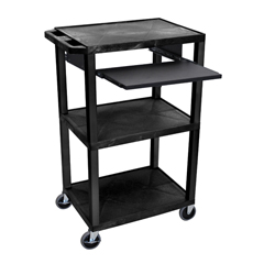 LUXWTPS42E-B - LuxorPresentation Cart with Open Shelves & Pull Out Tray