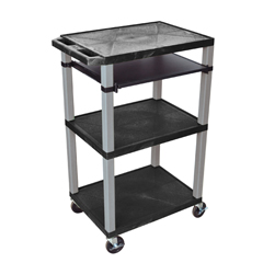 LUXWTPS42E-N - LuxorPresentation Cart with Open Shelves & Pull Out Tray