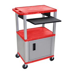 LUXWTPS42RC4E-N - LuxorPresentation Cart with Cabinet & Pull Out Tray
