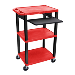 LUXWTPS42RE-B - LuxorPresentation Cart with Open Shelves & Pull Out Tray