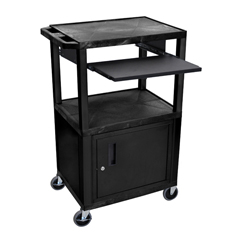 LUXWTPS42C2E-B - LuxorPresentation Cart with Cabinet & Pull Out Tray