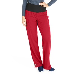 MED5560REDXSP - Medline - Ocean Ave Womens Stretch Fabric Support Waistband Scrub Pants, Red, X-Small