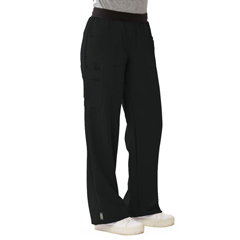 MED5570BLKST - Medline - Pacific Ave Womens Stretch Fabric Wide Waistband Scrub Pants, Black, Small