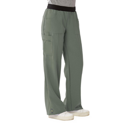 MED5570OLVXST - Medline - Pacific Ave Womens Stretch Fabric Wide Waistband Scrub Pants, Green, XS