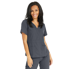 MED5587CHRXS - Medline - Park Ave Womens Stretch Fabric Mock Wrap Scrub Top with Pockets, Black, XS