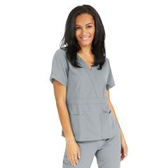 MED5587GRYXXL - Medline - Park Ave Womens Stretch Fabric Mock Wrap Scrub Top with Pockets, Black, 2XL