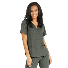 MED5587OLVXL - Medline - Park Ave Womens Stretch Fabric Mock Wrap Scrub Top with Pockets, Green, XL