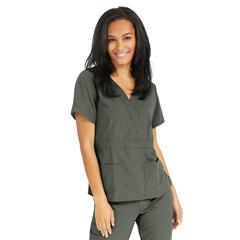 MED5587OLVXXXL - Medline - Park Ave Womens Stretch Fabric Mock Wrap Scrub Top with Pockets, Green, 3XL
