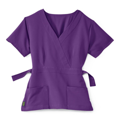 MED5587RPLS - Medline - Park Ave Womens Stretch Fabric Mock Wrap Scrub Top with Pockets, Purple, Small