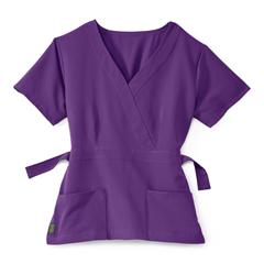 MED5587RPLXS - Medline - Park Ave Womens Stretch Fabric Mock Wrap Scrub Top with Pockets, Purple, XS