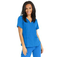 MED5587RYLXS - Medline - Park Ave Womens Stretch Fabric Mock Wrap Scrub Top with Pockets, Blue, XS