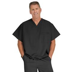 MED5910BLKXL - Medline - Fifth Ave Unisex Stretch Fabric V-Neck Scrub Top with 1 Pocket, Black, XL