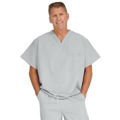 MED5910GRY5XL - Medline - Fifth Ave Unisex Stretch Fabric V-Neck Scrub Top with 1 Pocket, Black, 5XL
