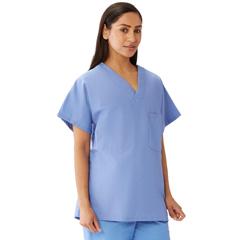 MED648MHSXXXL - Medline - Unisex 100% Cotton Reversible V-Neck Scrub Top with 2 Pockets, Blue, 3XL