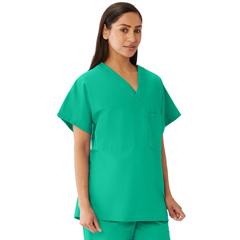 MED648MJSXXXL - Medline - Unisex 100% Cotton Reversible V-Neck Scrub Top with 2 Pockets, Green, 3XL