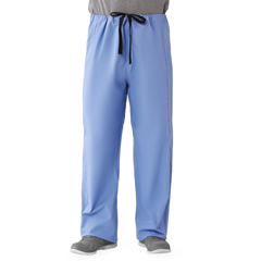 MED649MHSM - Medline - Unisex 100% Cotton Reversible Drawstring Scrub Pants, Blue, Medium