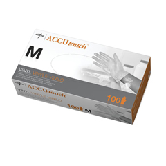 MED6MDS192075H - MedlineAccutouch Synthetic Exam Gloves - CA Only, Clear, Medium