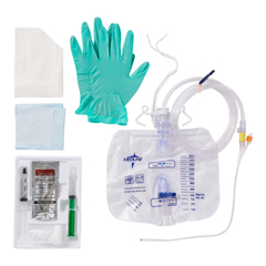 MEDDYND11519 - Medline - 2-Layer Tray with Drain Bag with Antireflux Device and 100% Silicone Foley Catheter, 16 Fr, 10 mL, 10 EA/CS