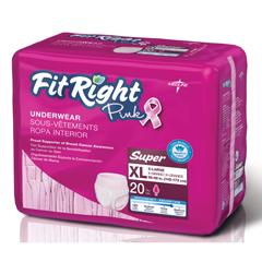 MEDFITPINKXLG - MedlineFitRight Pink Protective Underwear, XL, 80EA/CS