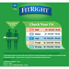 MEDFITULTRAXLG - MedlineFitRight Ultra Incontinence Briefs, 57-66, 80 EA/CS