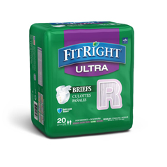 MEDFITULTRARGZ - Medline - FitRight Ultra Incontinence Briefs, 40-50, 20 EA/BG