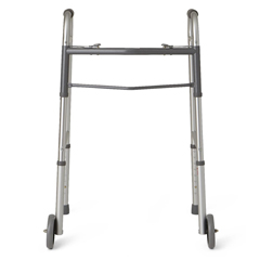 MEDG30757WH - Guardian - Adult Two-Button Folding Walker with 5 Wheels