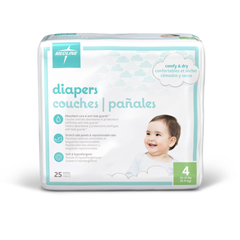 MEDMBD2004Z - Medline - Disposable Baby Diapers, White, Sizes N-7, Newborn 41+ Lbs