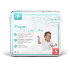 MEDMBD2005Z - Medline - Disposable Baby Diapers, White, Sizes N-7, Newborn 41+ Lbs