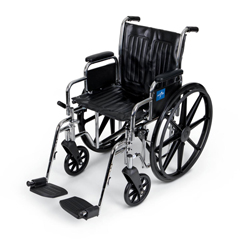 MEDMDS806250D - Medline - Excel Wheelchair, Removable Desk-Length Arms, Swing-Away Footrests, 18