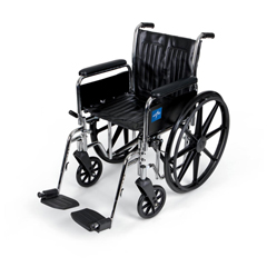 MEDMDS806250DFLA - Medline - Excel Wheelchair, Full-Length Arms, Swing-Away Footrests, 18 x 16