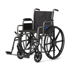 MEDMDS806250EE - Medline - K1 Basic Wheelchair with Desk-Length Arms and Swing-Away Footrests, 300 lb. Weight Capacity, 18 Width