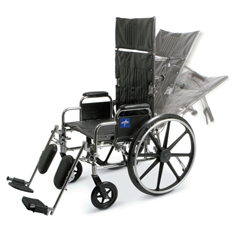 MEDMDS808350 - Medline - Excel Reclining Wheelchair with Removable Desk-Length Arms and Elevating Leg Rests, 300 lb. Weight Capacity, 16 Width