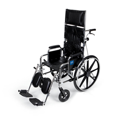 MEDMDS808450 - Medline - Excel Reclining Wheelchair with Removable Desk-Length Arms and Elevating Leg Rests, 300 lb. Weight Capacity, 18 Width