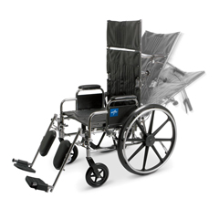MEDMDS808550 - Medline - Excel Reclining Wheelchair with Removable Desk-Length Arms and Elevating Leg Rests, 350 lb. Weight Capacity, 20 Width