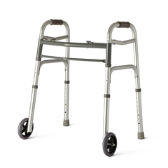 MEDMDS86410JW54 - Medline - Youth Two-Button Folding Walkers with 5 Wheels