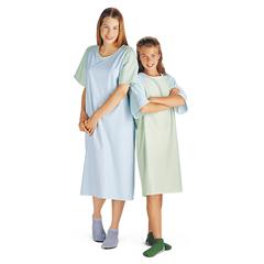 MEDMDT011270 - MedlineBrushed Flannel Adolescent Patient Gowns- Blue