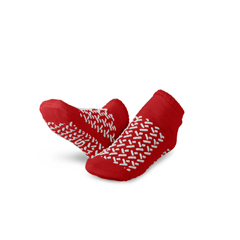 MEDMDTDBLTREADS - Medline - Double-Tread Patient Slippers, Red, Size Small