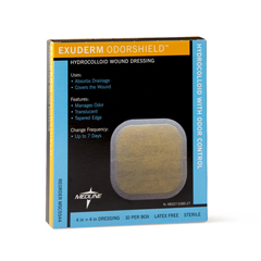 MEDMSC5544 - Medline - Exuderm Odorshield Hydrocolloid Wound Dressings, 10 EA/BX
