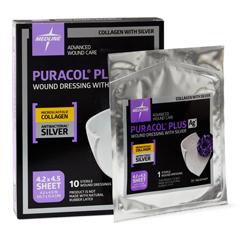 MEDMSC8744EPZ - Medline - Puracol Plus AG+ Collagen Wound Dressings with Silver,  4.2 x 4.5, 19.13 ML, 10 EA/BX