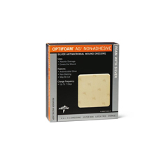 MEDMSC9614H - Medline - Optifoam AG+ Nonadhesive Silver Antimicrobial Wound Dressing, 4x4