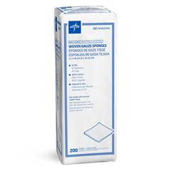 MEDNON25416Z - Medline - Nonsterile 100% Cotton Woven Gauze Sponges, 200 EA/PK