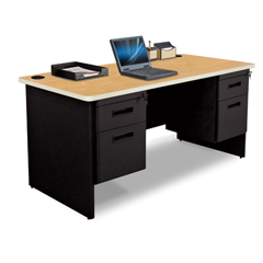 MLGPDR6030DPBKOKPU - Marvel GroupPronto® Double Pedestal Desk, 60W x 30D - Oak Laminate and Black Finish