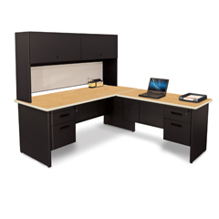 MLGPRNT6BKF8568OKPU - Marvel GroupPronto® Desk with Return and Pedestal, 72W x 78D:Black/Oak, Slate