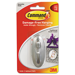 MMM17051BN - Command™ Plastic Hook with Metallic Finish