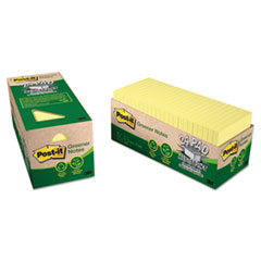 MMM654R24CPCY - Post-it® Greener Notes Original Recycled Pads in Cabinet Packs