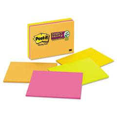 MMM6845SSP - Post-it® Notes Super Sticky Large Format Notes in Neon Colors