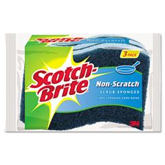 MMMMP38D - Non-Scratch Multi-Purpose Scrub Sponge, 4 2/5 x 2 3/5, Blue, 3/Pack