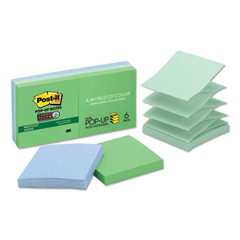 MMMR3306SST - Post-it® Pop-up Recycled Notes in Bora Bora Colors